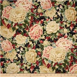 Robert Kaufman Imperial Collection Metallic Large Flowers Vintage