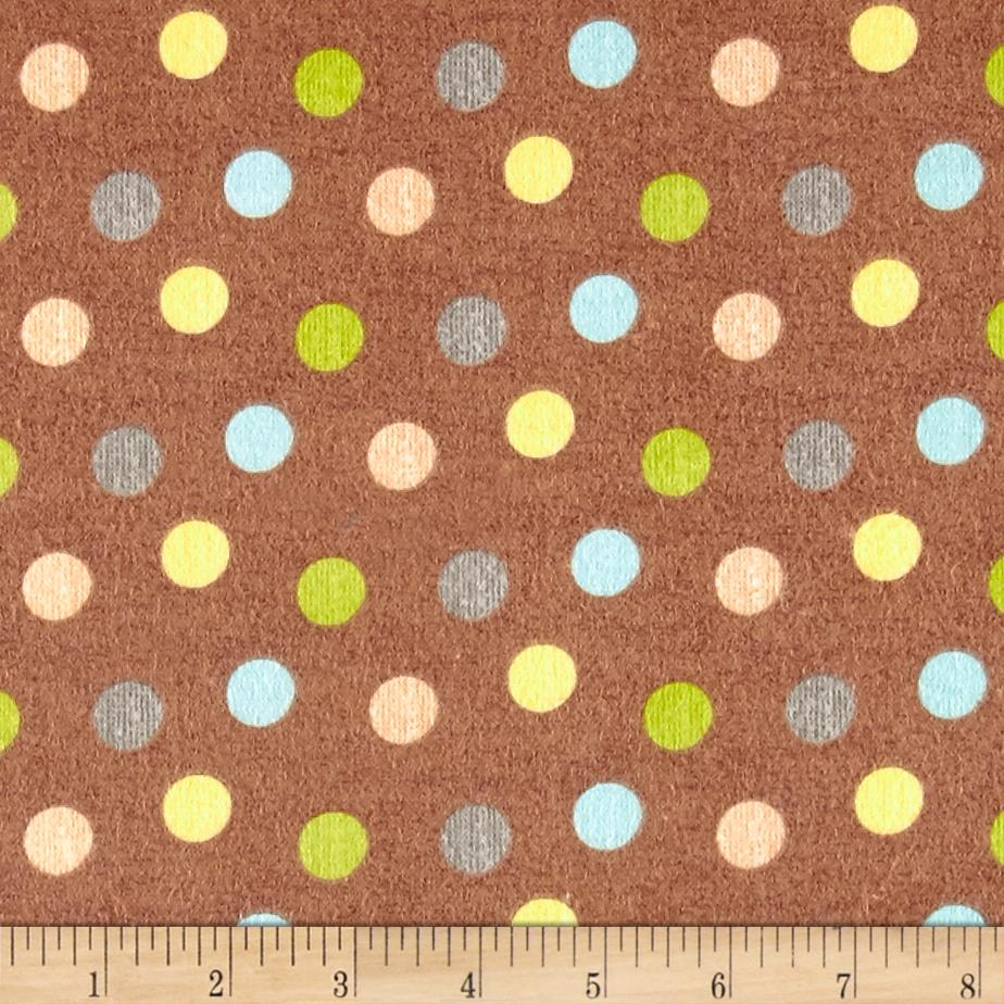 Zoovenirs Flannel Dots Brown Fabric