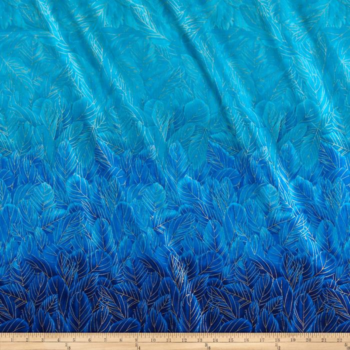Timeless Treasures Enchanted Plume Metallic Feather Double Border