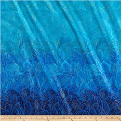 Timeless Treasures Enchanted Plume Metallic Feather Double Border Turquoise