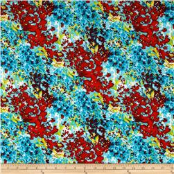 Stretch ITY Jersey Knit Floral Turquoise/Red Fabric