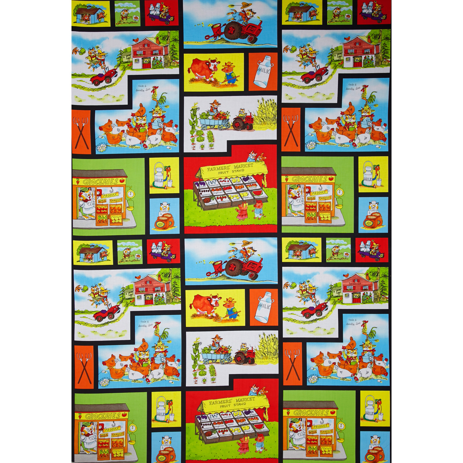 Richard Scarry Farmer's Market Panel Picture Patches Black