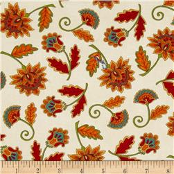 Moda Forest Fancy Fall Flowers Cream