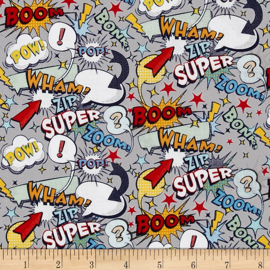Riley Blake Super Hero Words Grey Fabric