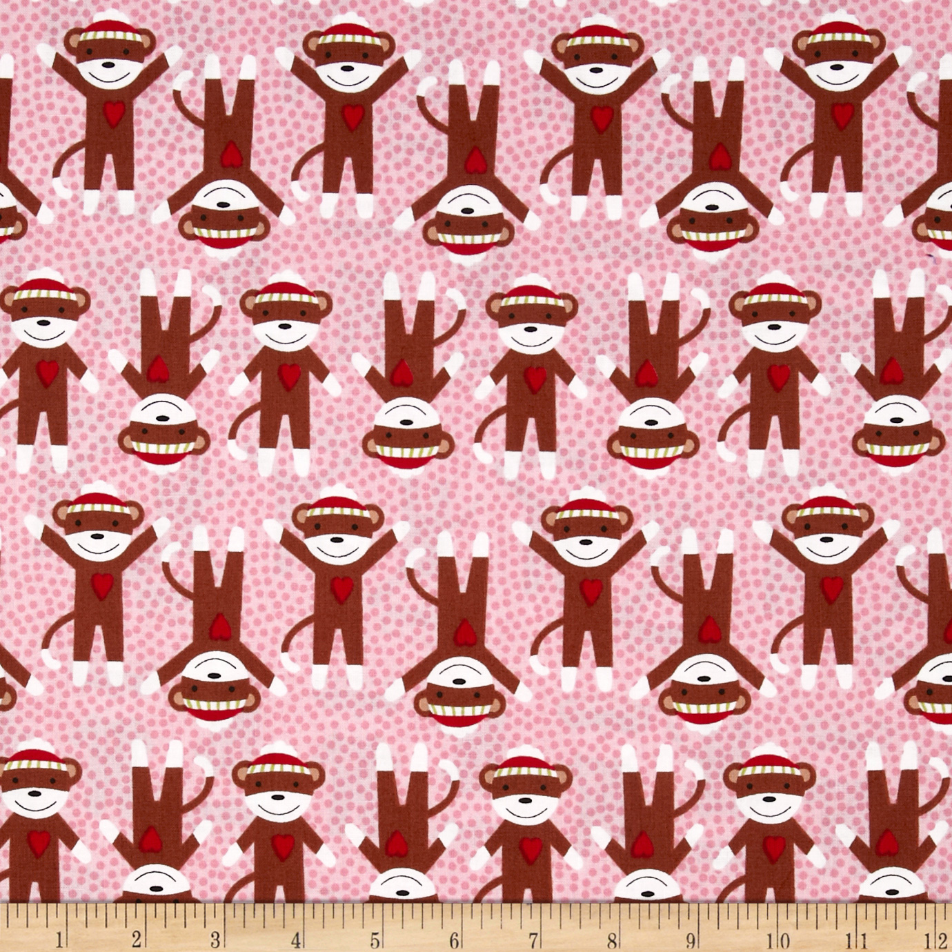 Critter Club Sock Monkey Pink Fabric