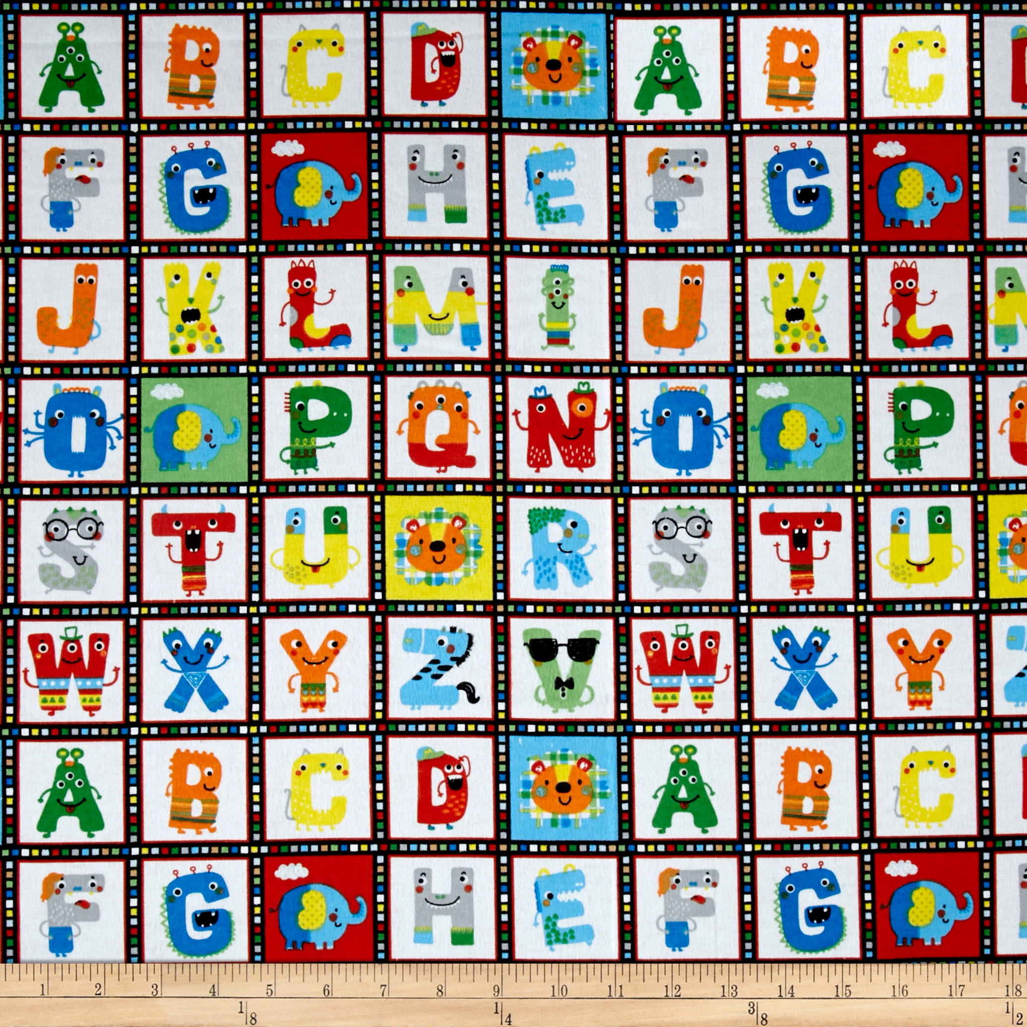 Comfy Flannel Alphabet Squares White Fabric by A. E. Nathan in USA