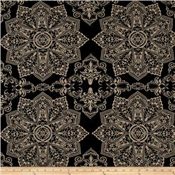 Mosaic Flower Stretch ITY Black/Beige