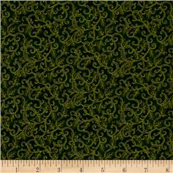 Moda Holly Night Metallic Icy Swirls Evergreen