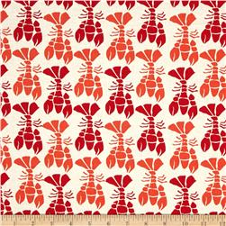 Moda Beach House Lobsters White/Red/Orange