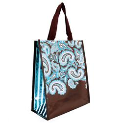Insta-Totes Reusable Scalloped Paisley Teal Metallic Lunch Tote