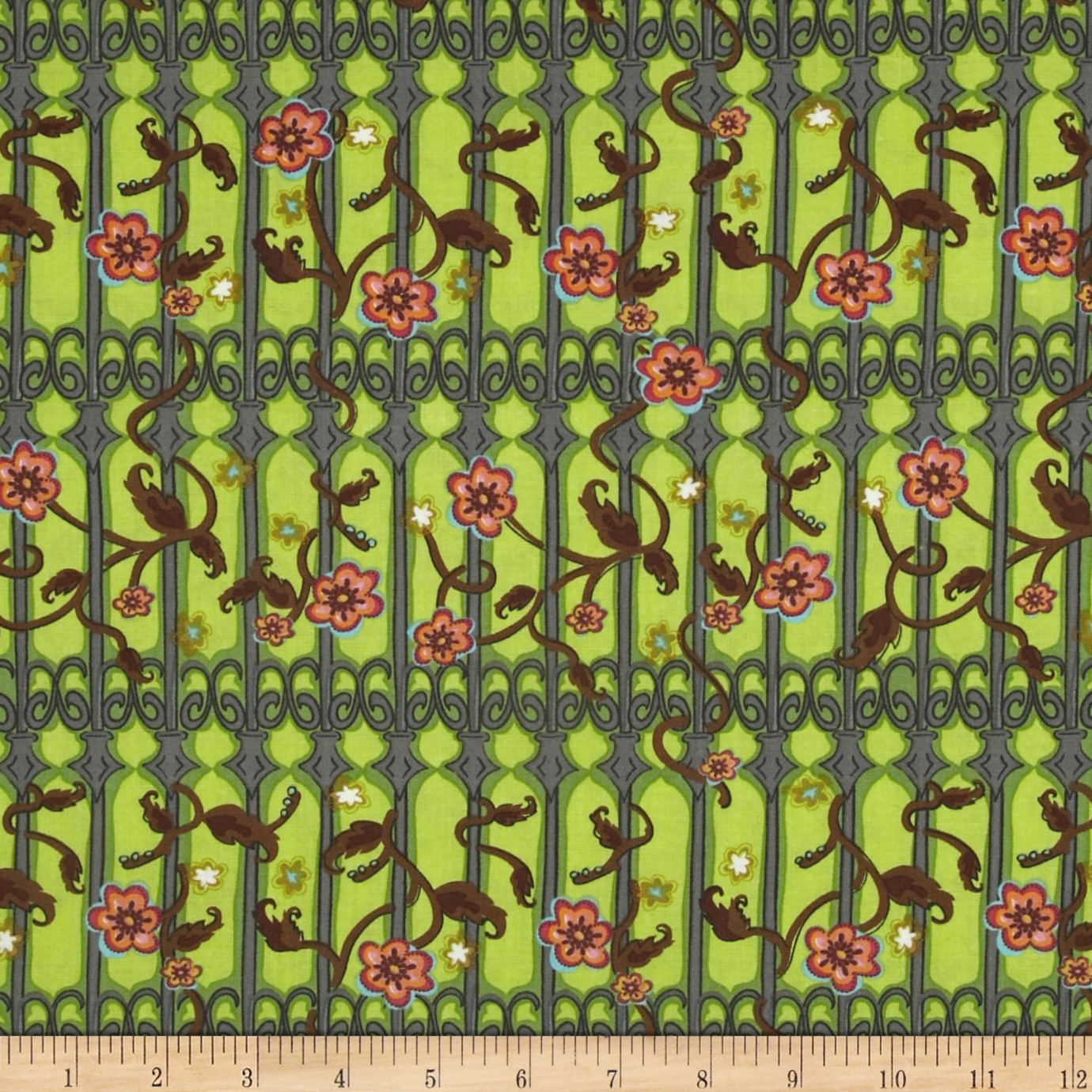 Secret Garden Garden Gate Lime Fabric