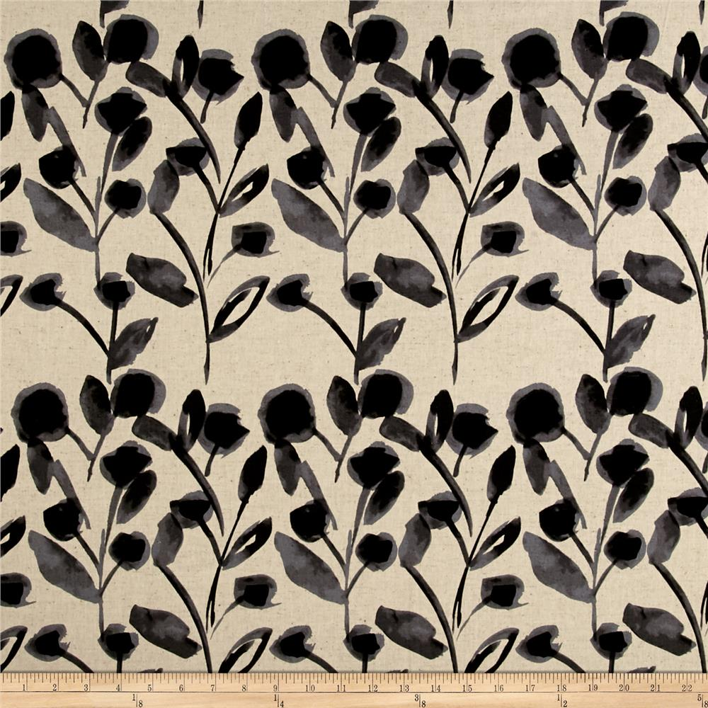Kaufman Sevenberry Canvas Cotton Flax Prints Vines Grey Fabric By The Yard