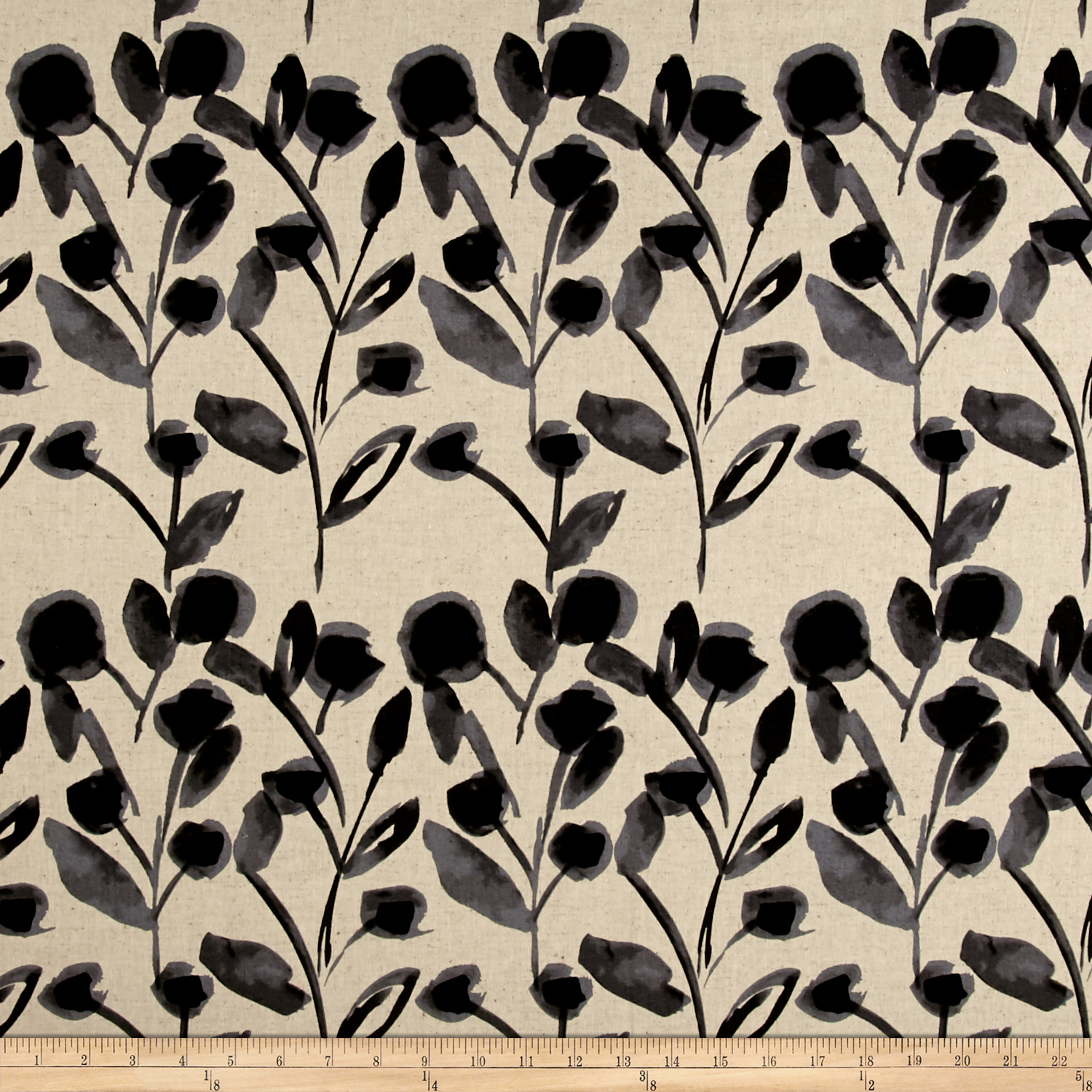 Kaufman Sevenberry Canvas Cotton Flax Prints Vines Grey Fabric by Kaufman in USA