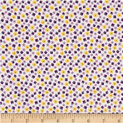 Nana Mae 1930's Floral And Square Geo Lilac