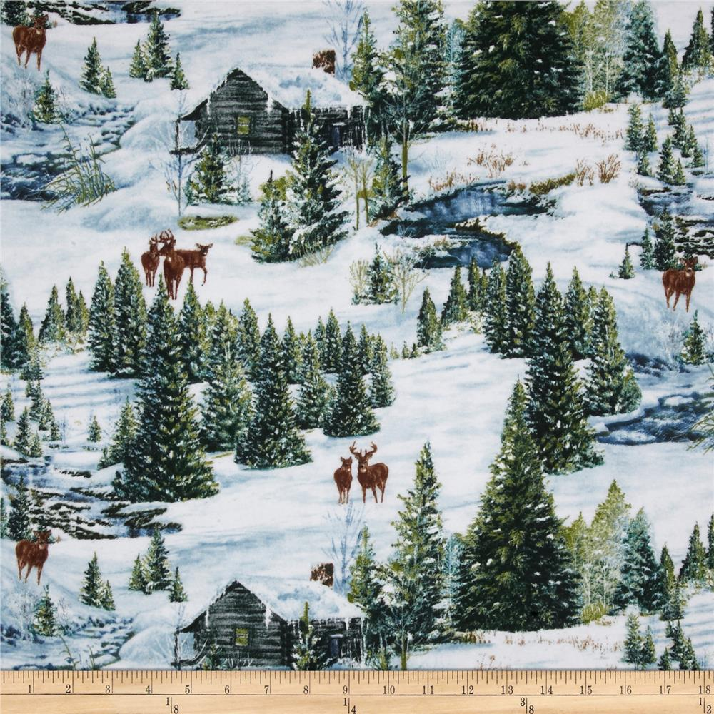 Winter Stillness Flannel Scenic Multi Discount Designer