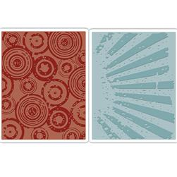 Sizzix Texture Fades Embossing Folders Rays & Retro Circles Set