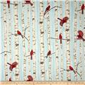 Woodsy Winter Metallic Cardinals in Trees Aqua/Silver