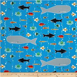 Happy Drawing Too Organic Sea Life Blue Fabric