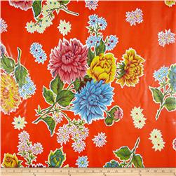 Oil Cloth Mums Orange