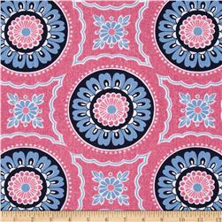 Kanvas Water Lily Denim Medallion Pink