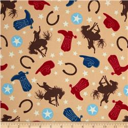 Riley Blake Rodeo Rider Flannel Rodeo Main Brown