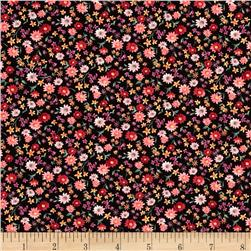 Timeless Treasures Chloe Ditsy Daisy Black Fabric