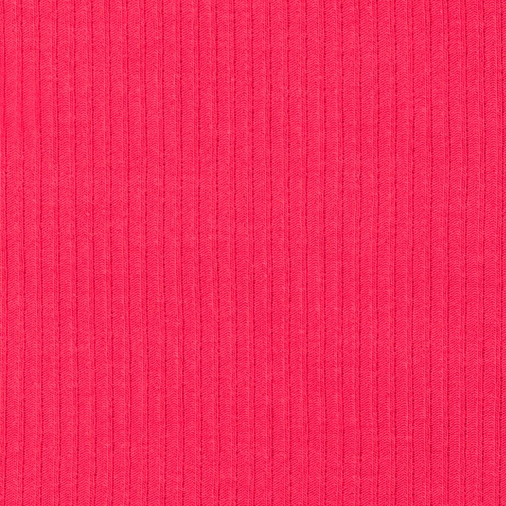 Stretch Hatchi Rib Knit Dark Coral Pink
