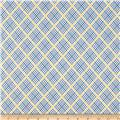 Aunt Grace Ties One On Large Trellis Plaid Blue
