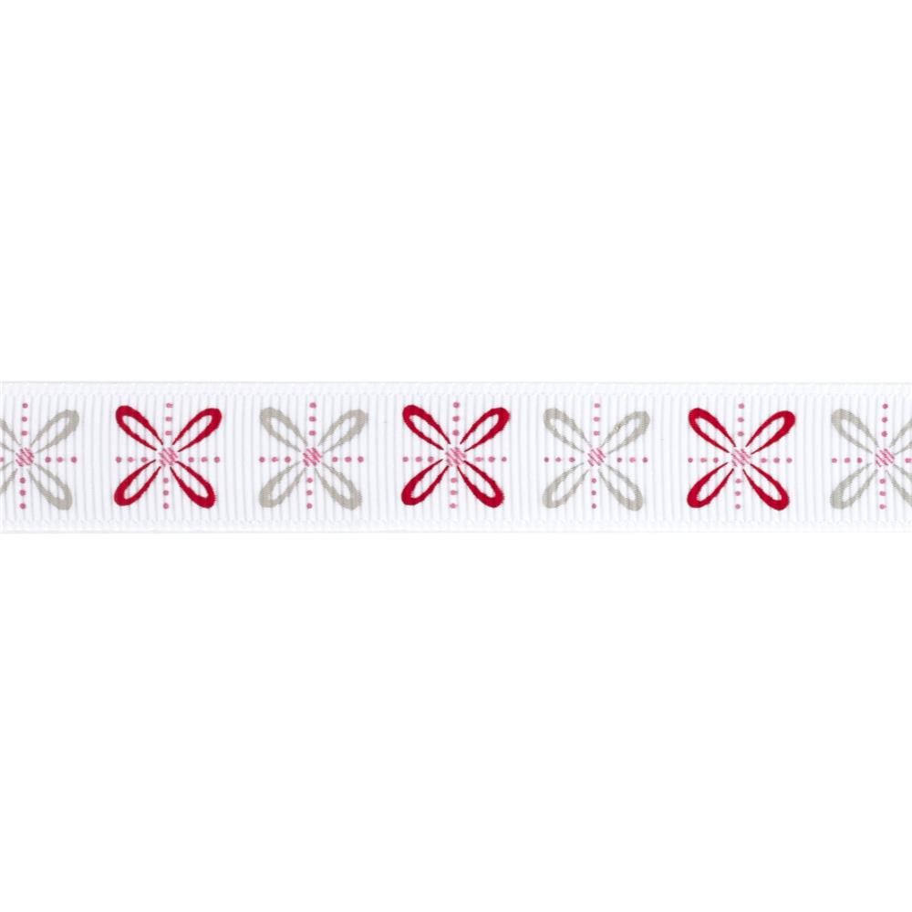 "Riley Blake 5/8"" Grosgrain Ribbon Polka Dot Stitches"