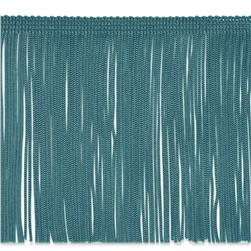6'' Chainette Fringe Trim Turquoise Fabric