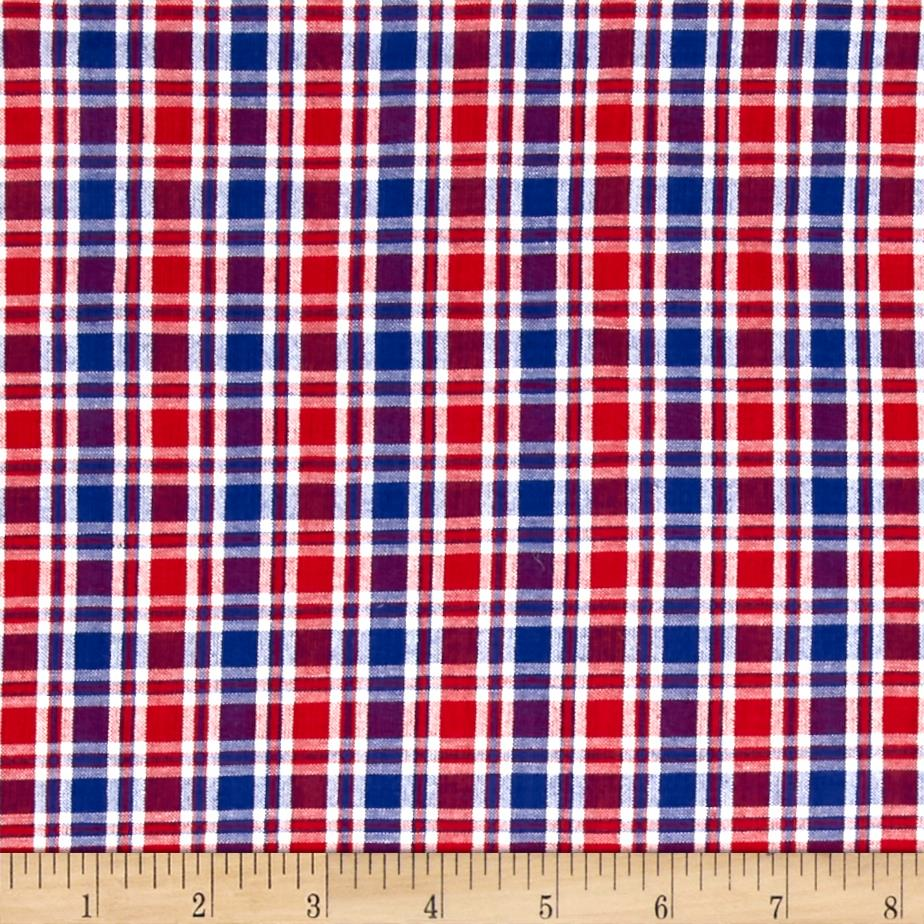 Seersucker Small Plaid Red/Royal/White