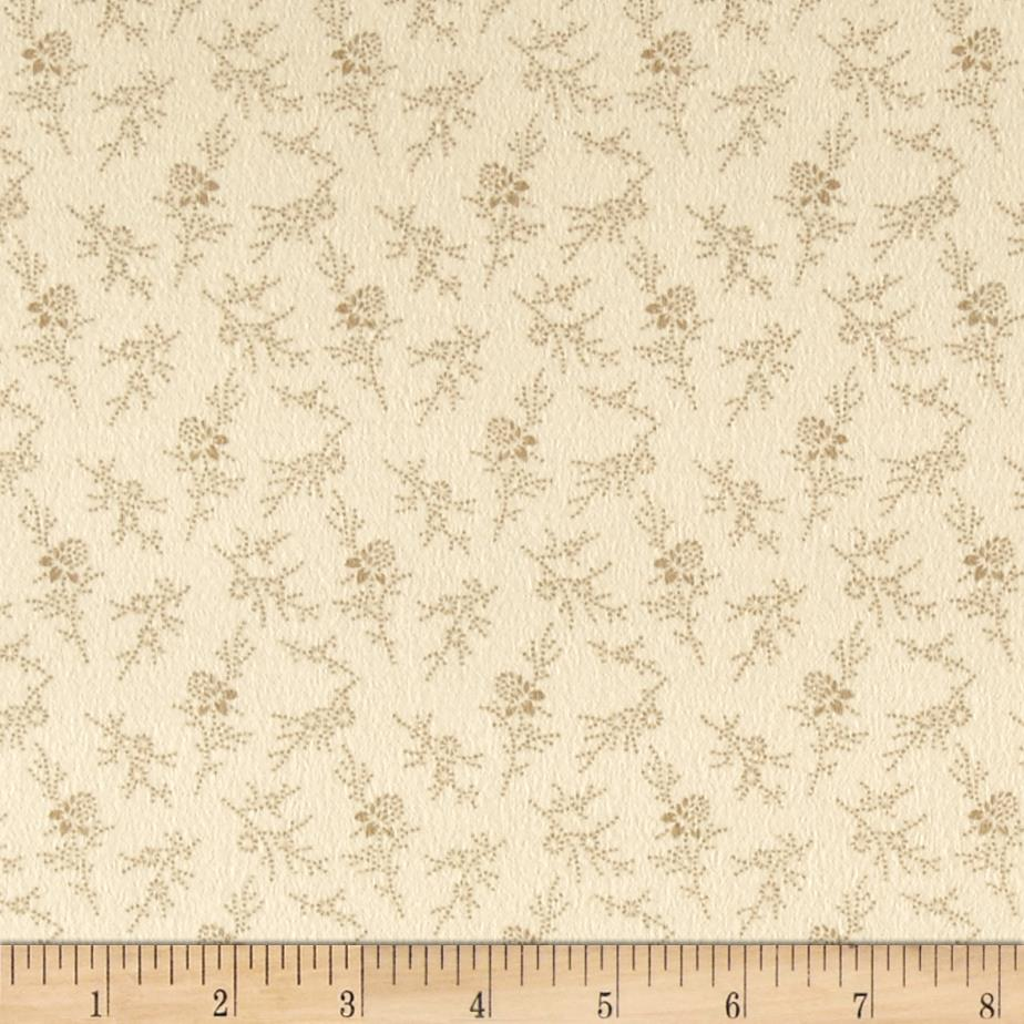 Cozies Flannel Floral Tan Fabric By The Yard