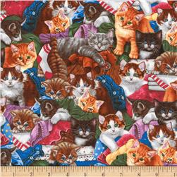 Kaufman Whiskers & Tails Kitten Collage Multi