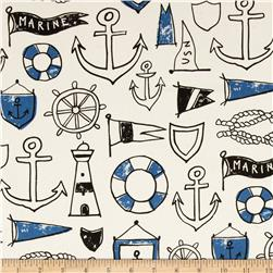 Kokka Trefle Canvas Anchors & Nautical Natural/Blue