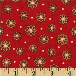 Sunflower Garden Small Tossed Flower Red Fabric