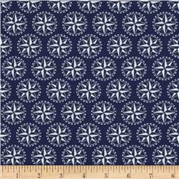 Sail Away Mariners Star Blue Fabric