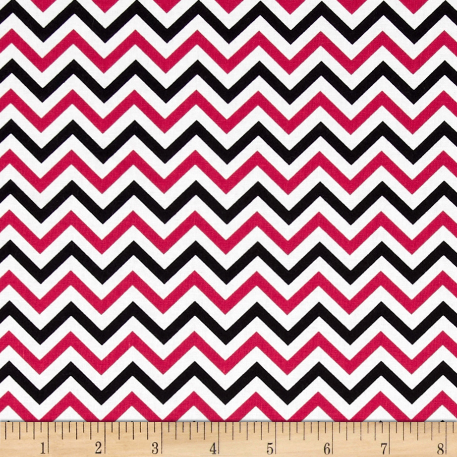 Ups & Downs Chevron Black/Red Fabric