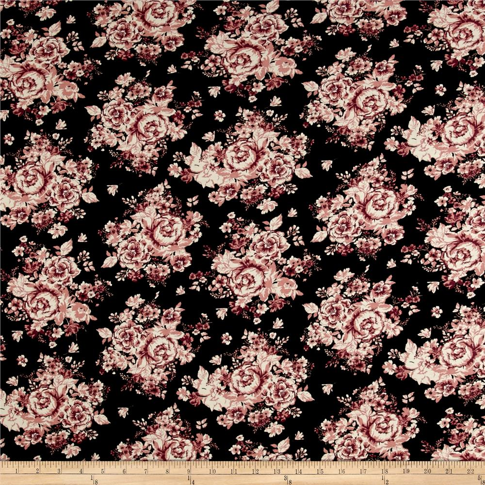 Rayon Spandex Jersey Knit Rose Cluster Black/Rose Quartz Fabric
