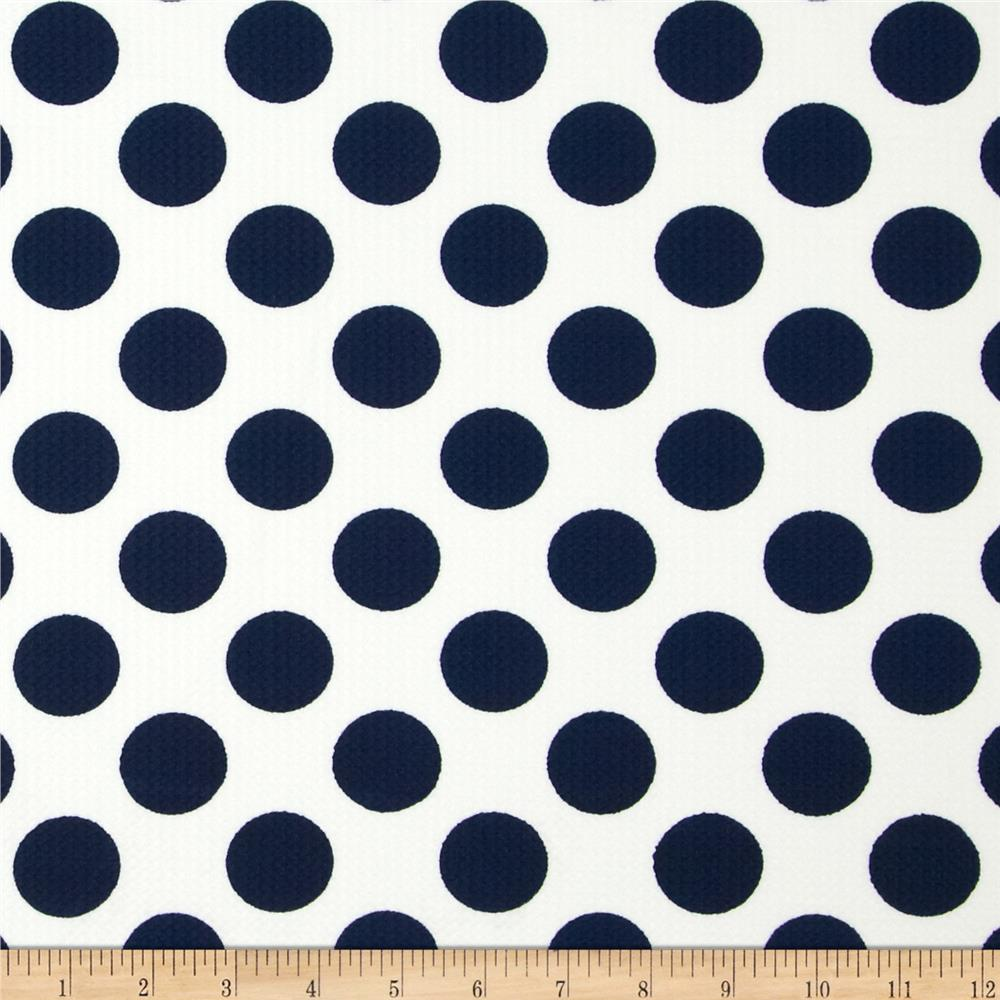 Paola Pique Knit Large Dots Ivory/Navy