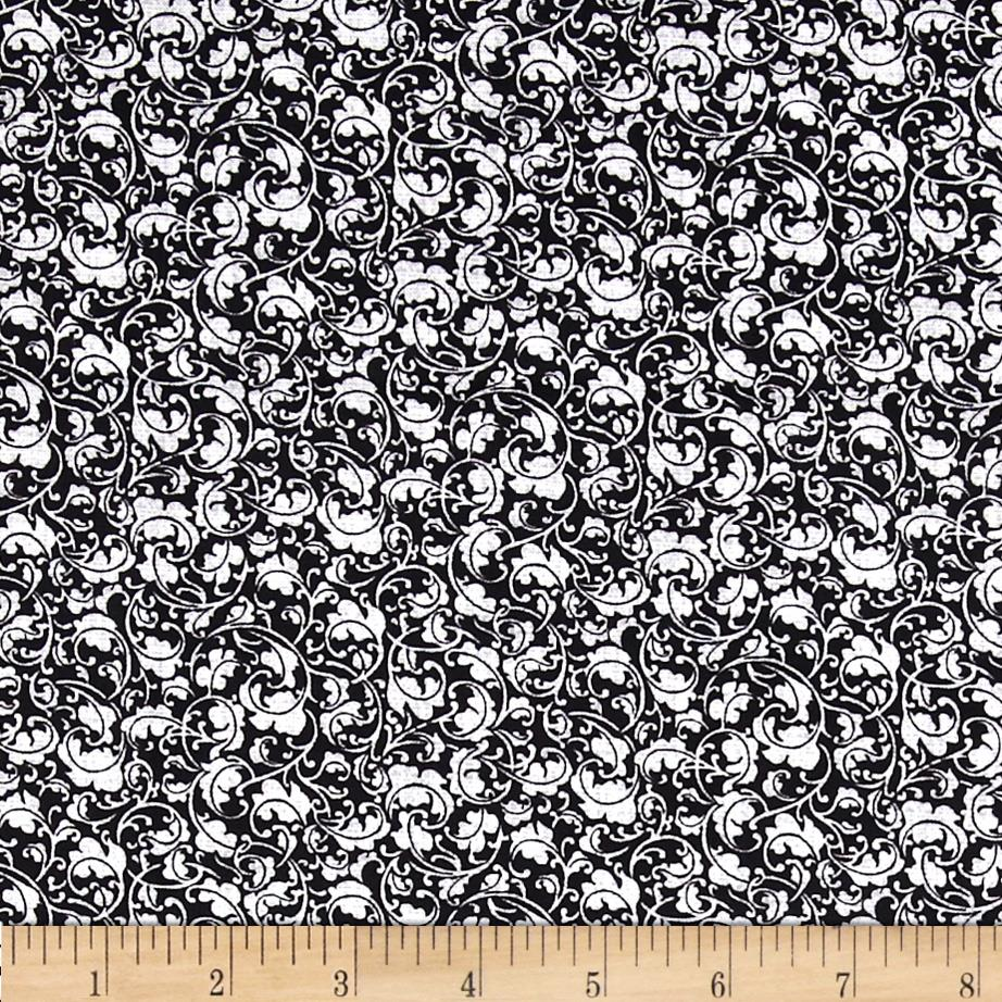 And Sew On Small Viney Floral Black/Grey