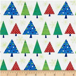 Benartex Christmas Tree Fest White Multi