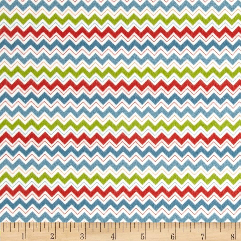 Riley Blake Hooty Hoot Returns Flannel Hoot Chevron Blue