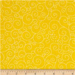 Timeless Treasures Stitch Scroll Yellow