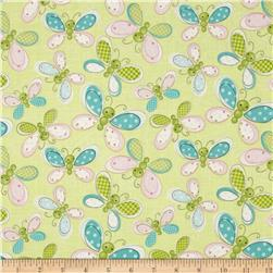 Stitched Garden Butterflys Green
