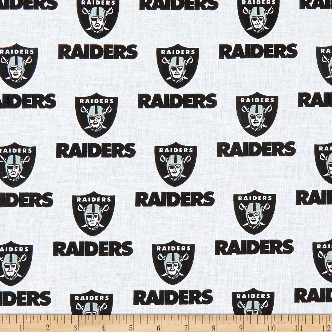 NFL Cotton Broadcloth Oakland Raiders Black/White Fabric by Fabric Traditions in USA