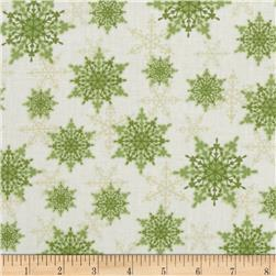 Holiday Magic Snowflakes Green Fabric