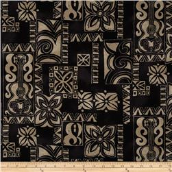 Surf N' Sand Tropicals Tropical Squares Black/Tan Fabric