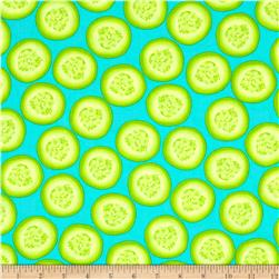 Kanvas Toss & Serve Cucumber Slices Azure Fabric