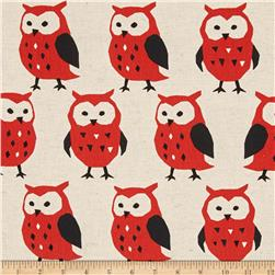 Kokka Trefle Linen Blend Canvas Owls Red