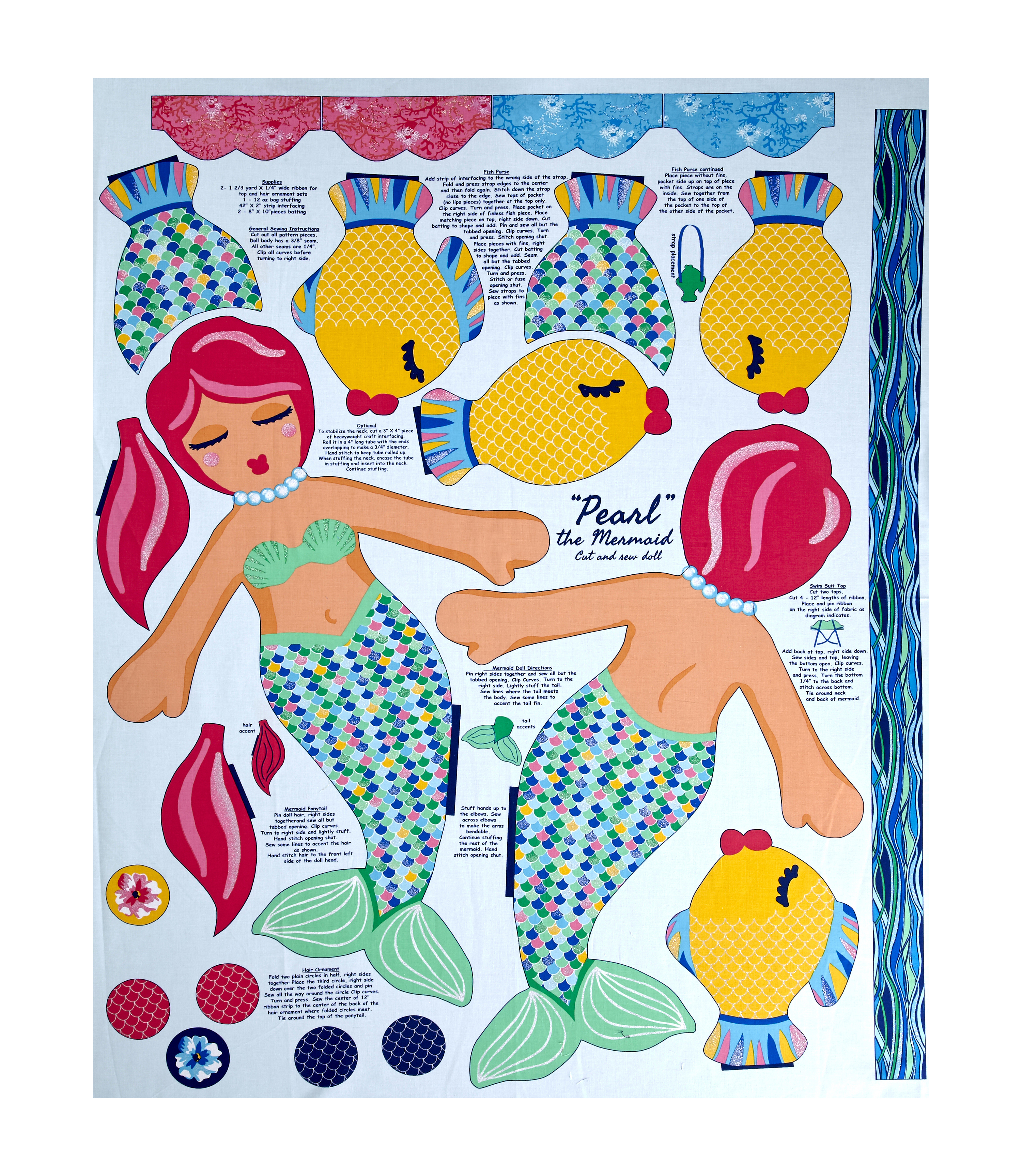 Beautiful Briny Sea Doll Glitter 35.5'' Panel Fabric by Exclusively Quilters in USA